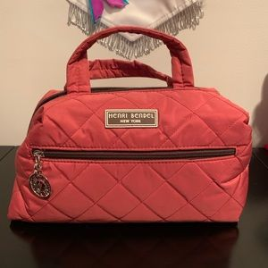 Henri Bendel Red Quilted Cosmetic Bag